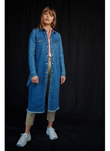 Levure Beli Kemerli Uzun Kot Ceket Mavi
